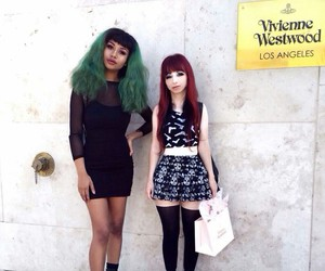 dyed hair, skirt, and fashion image