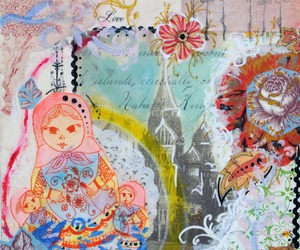Collage, mixed media, and moscow image