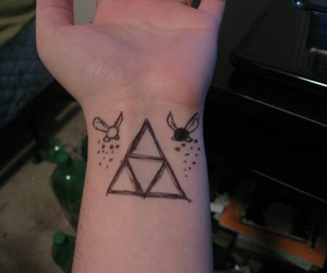 tattoo, the legend of zelda, and triforce image