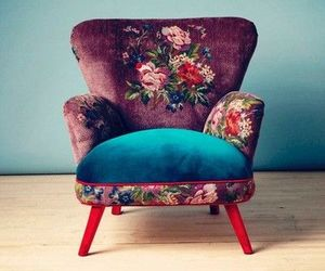 chair, flowers, and vintage image