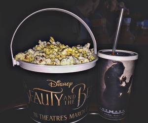 beauty and the beast, disney, and popcorn image