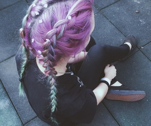 black, braid, and color hair image
