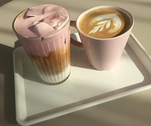 coffee, pink, and drink image