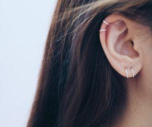 etsy, cartilage earrings, and silver hoop earrings image