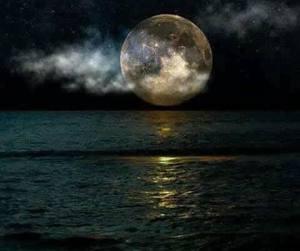 beach, sky, and moon image