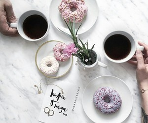 coffee, donuts, and flowers image