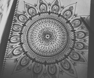 mandala, art, and b&w image