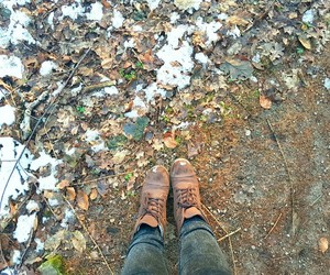 boots, fall, and snow image