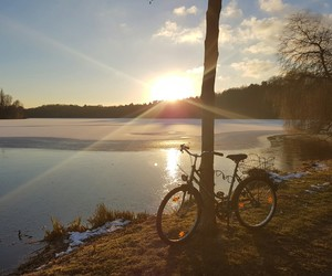park, winter, and bike image