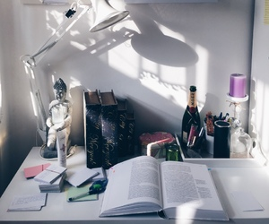 study, desk, and office image