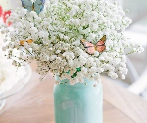 flowers, butterfly, and spring image