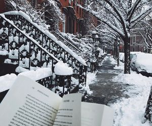 book, snow, and snowflakes image