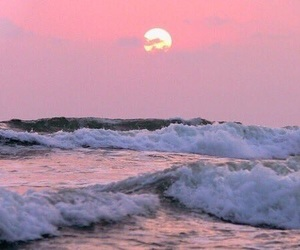 pink, sunset, and waves image