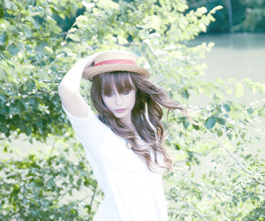 girl, hat, and white image