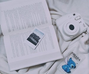 blue, book, and polaroid image
