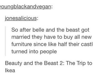 beauty and the beast, funny, and ikea image