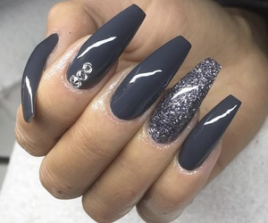 coffin, long nails, and nail polish image