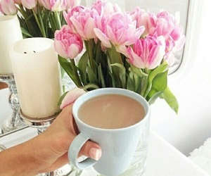 flowers, coffee, and indie image