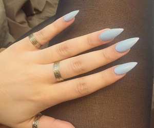 baby blue, heart, and nails image