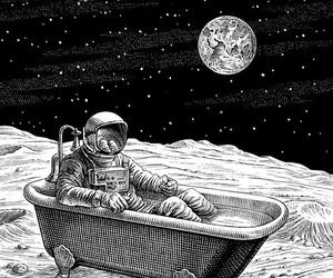 bath, astornaut, and monochrome image