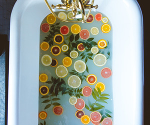 bath, fruit, and lemon image