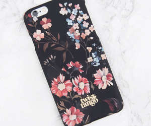 black, case, and florals image
