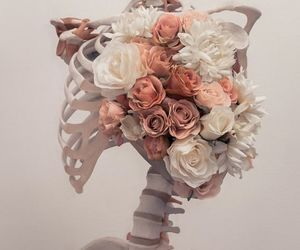flowers, aesthetic, and skeleton image
