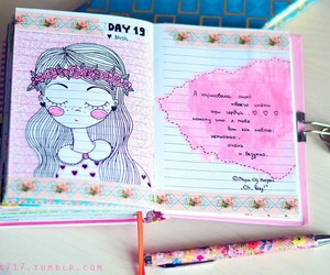 diary, sketchbook, and smile image