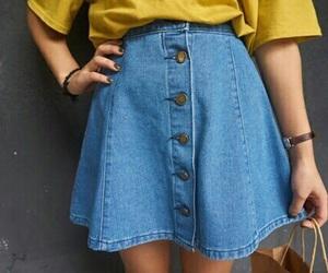 skirt, tumblr, and yellow image
