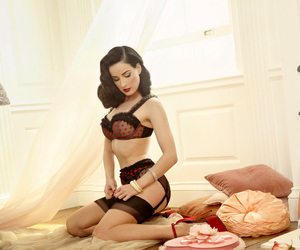 black, red, and Dita von Teese image