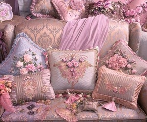 flowers, gold, and pink image