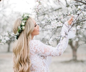 beauty, blossom, and hair image