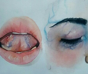 art, lips, and eyes image