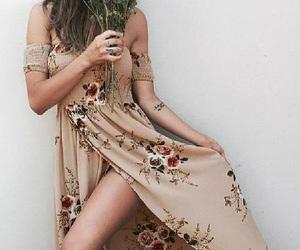 beauty, bohemian, and flower dress image