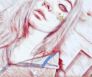 stars, backround, and eyeliner image