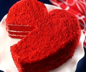 cake, heartshaped, and red image