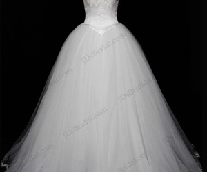 wedding dress, strapless ball gown, and bridal dress image
