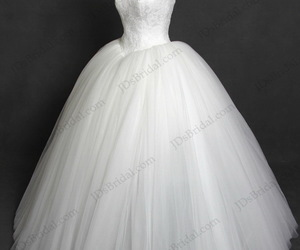 strapless, wedding dresses, and tulle ball gown image
