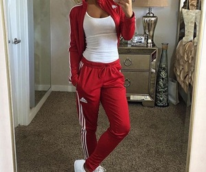 adidas, red, and fashion image