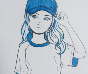 blue, cap, and drawing image