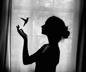 girl, bird, and black and white image