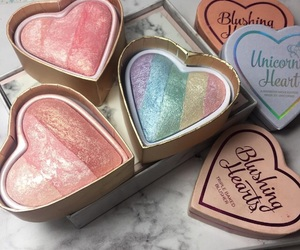 makeup, heart, and rainbow image