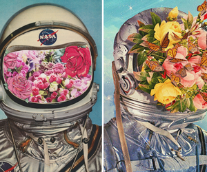 flowers, space, and astronaut image