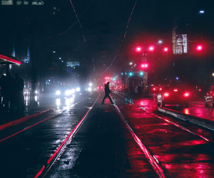 light, city, and red image