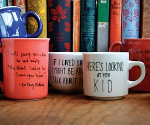 books, coffee, and colorful image