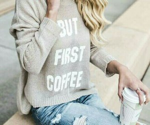 clothes, jess and gabriel, and coffee image