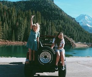 travel, friends, and girl image