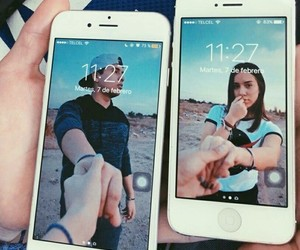 couple, iphone, and photo image