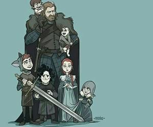 ned, stark, and bran image