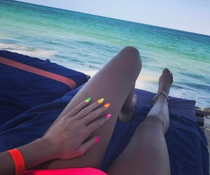 beach, nails, and neon image